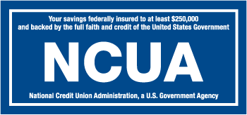 Your savings federally insured to at least $250,000 and backed by the full faith and credit of the United States Government. NCUA: National Credit Union Administration, a U.S. Government Agency.